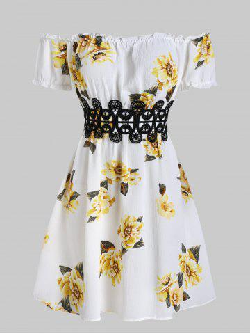 Off The Shoulder Floral Printed A Line Dress - CORN YELLOW - 3XL