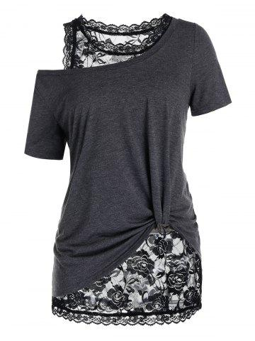 Plus Size Skew Collar T Shirt with Lace Tank Top - BLACK - 2X