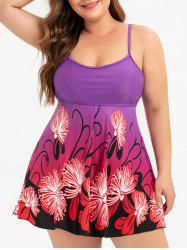 Skirted Contrast Floral Plus Size Tankini Swimsuit -