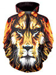 Lion Art Paint Graphic Front Pocket Casual Hoodie -