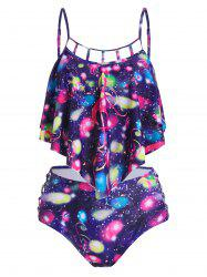 Colorful Music Notes Print Padded Tankini Swimwear -