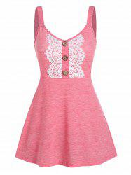 Button Fit And Flare Space Dye Tank Top -