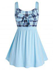 Plus Size Plaid Bowknot Splicing Tank Top -