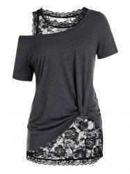 Plus Size Skew Collar T Shirt with Lace Tank Top -