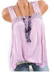 Plus Size Butterfly Lace Crochet Square Neck Tank Top -