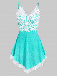 Lace Insert Pointed Hem Heathered Cami Top -