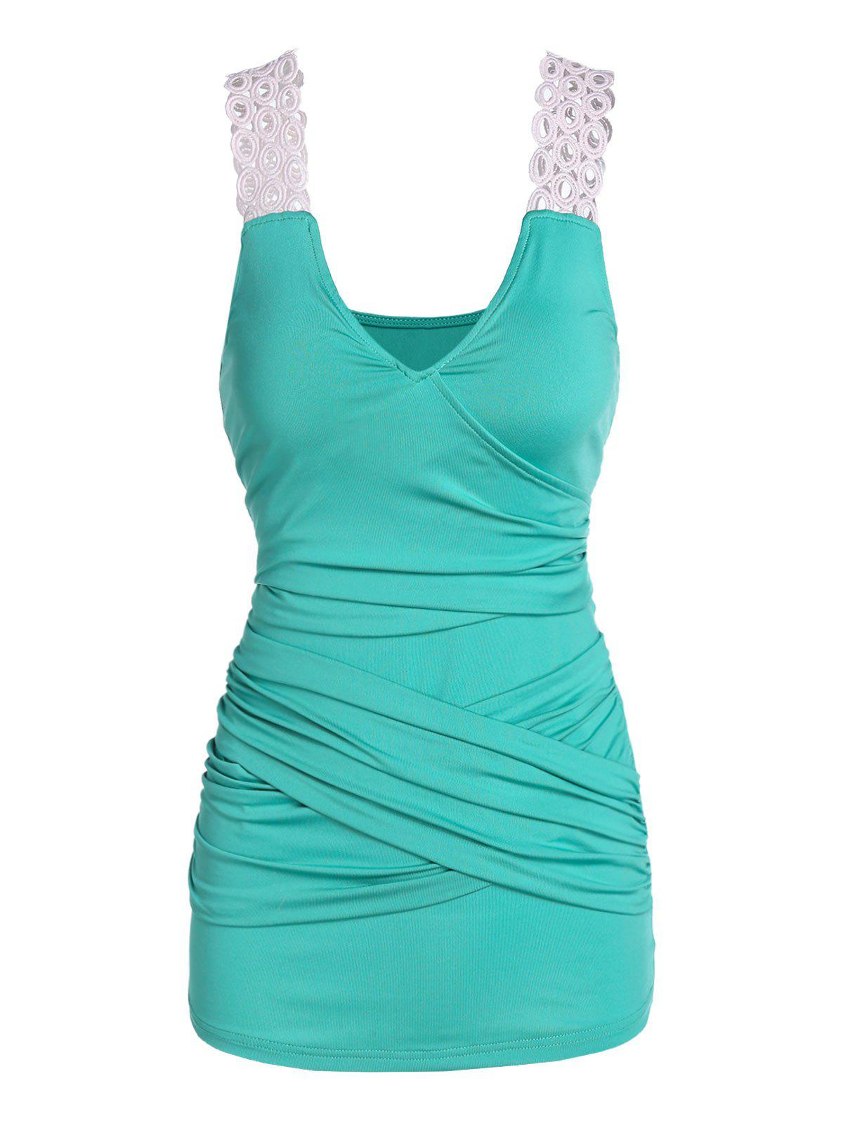 Ruched Crossover Tank Top фото
