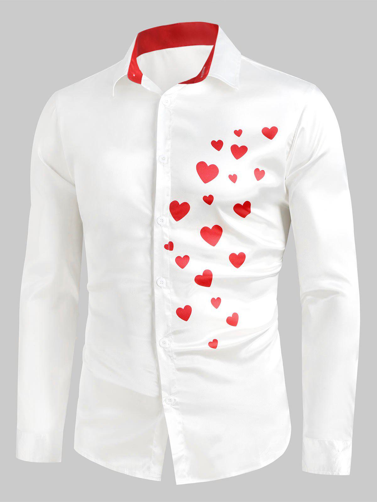 Outfits Heart Print Button Up Casual Satin Shirt