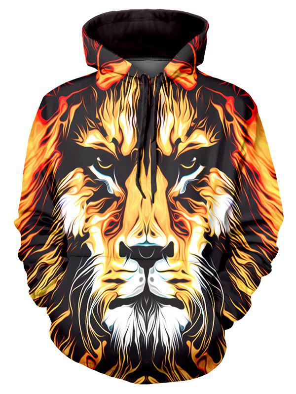 Cheap Lion Art Paint Graphic Front Pocket Casual Hoodie