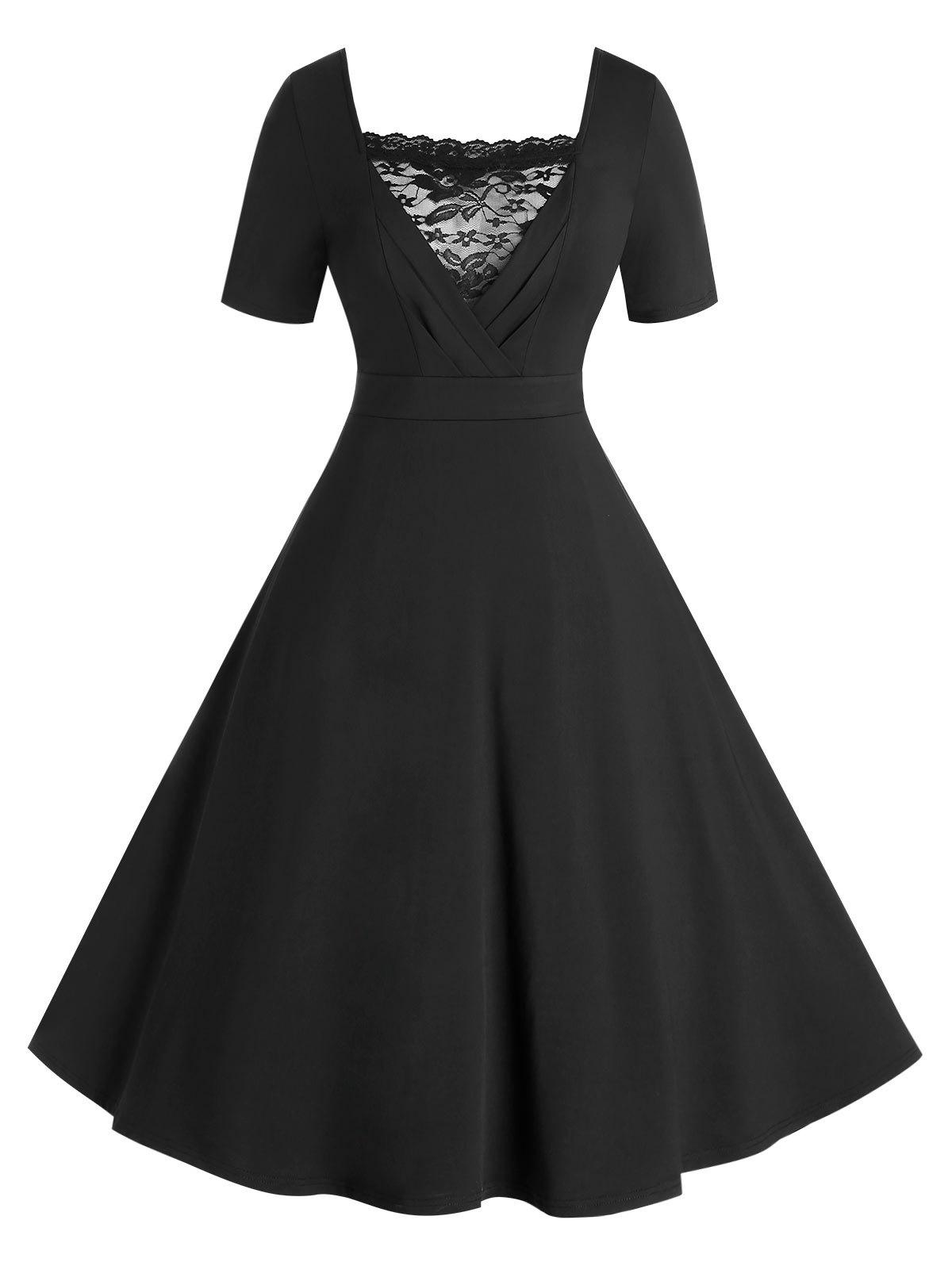 Plus Size Fit and Flare Dress with Lace Panel фото