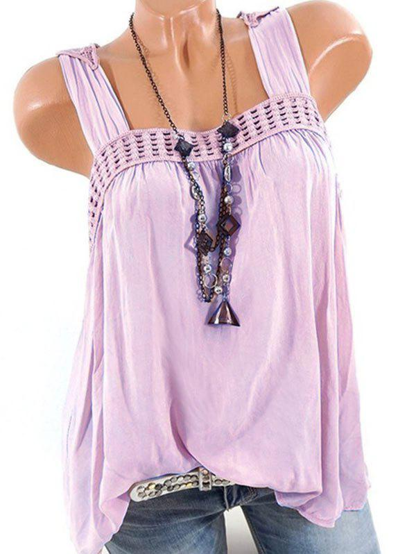Best Plus Size Butterfly Lace Crochet Square Neck Tank Top
