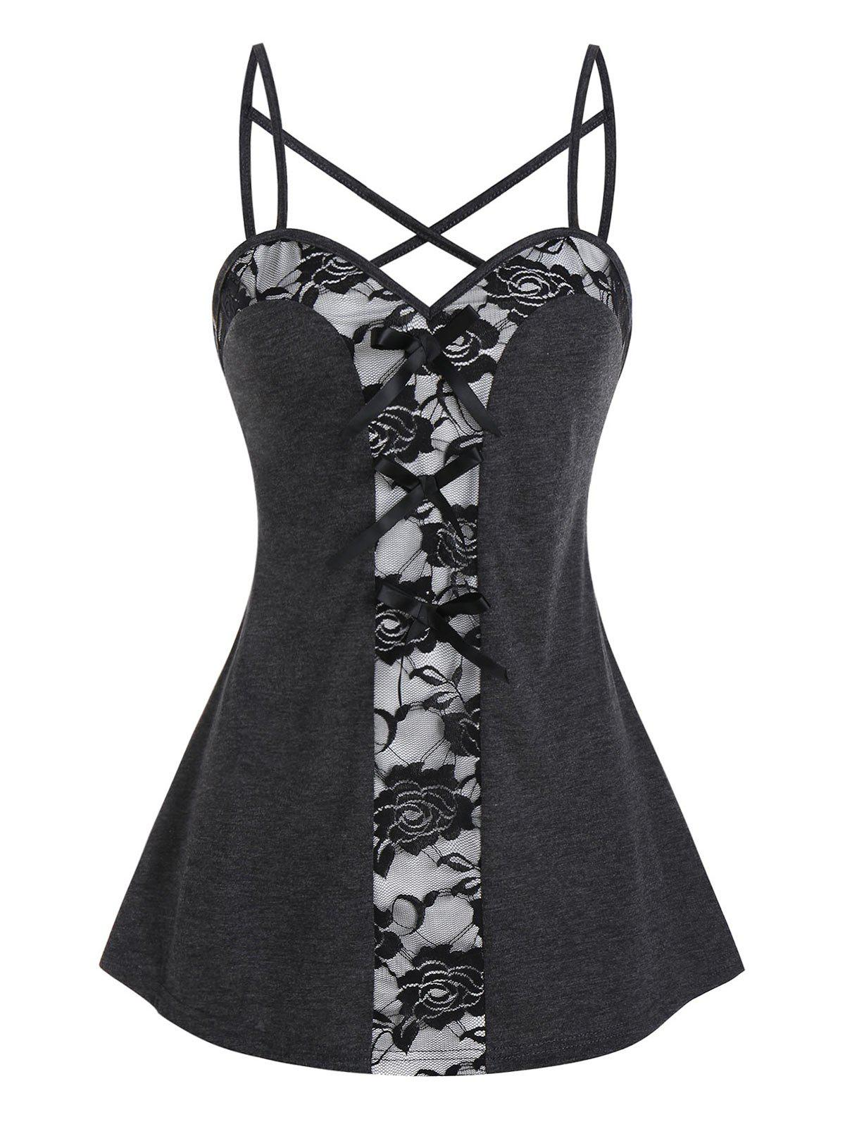 Fancy Sheer Lace Panel Bowknot Cami Tank Top