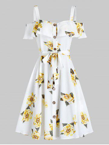 Flower Print Button Through Belted Dress