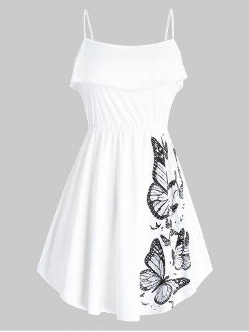 Ruffled Butterfly Print Cami Top - WHITE - 2X