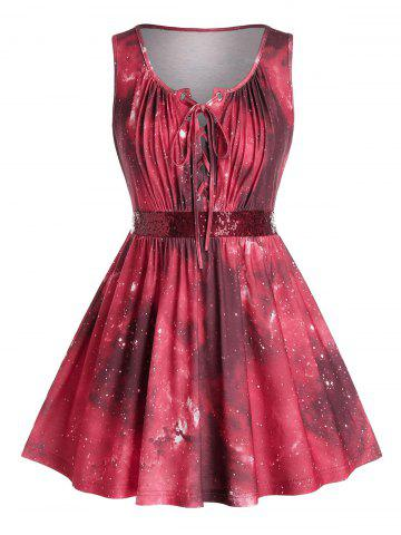 Plus Size Galaxy Print Sparkly Tank Top - RED WINE - 2X