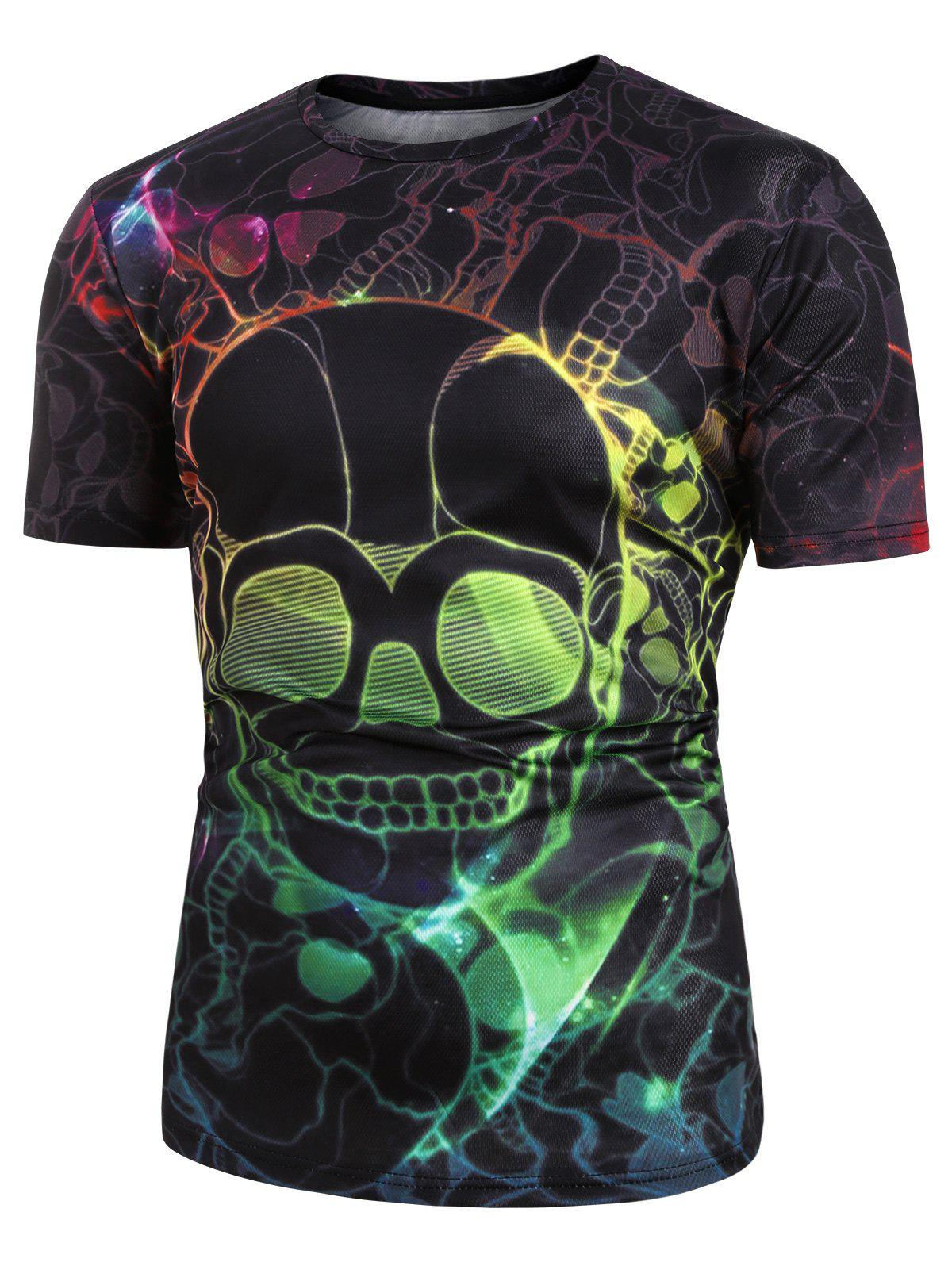 Discount Colorful Skull Pattern Short Sleeves T-shirt