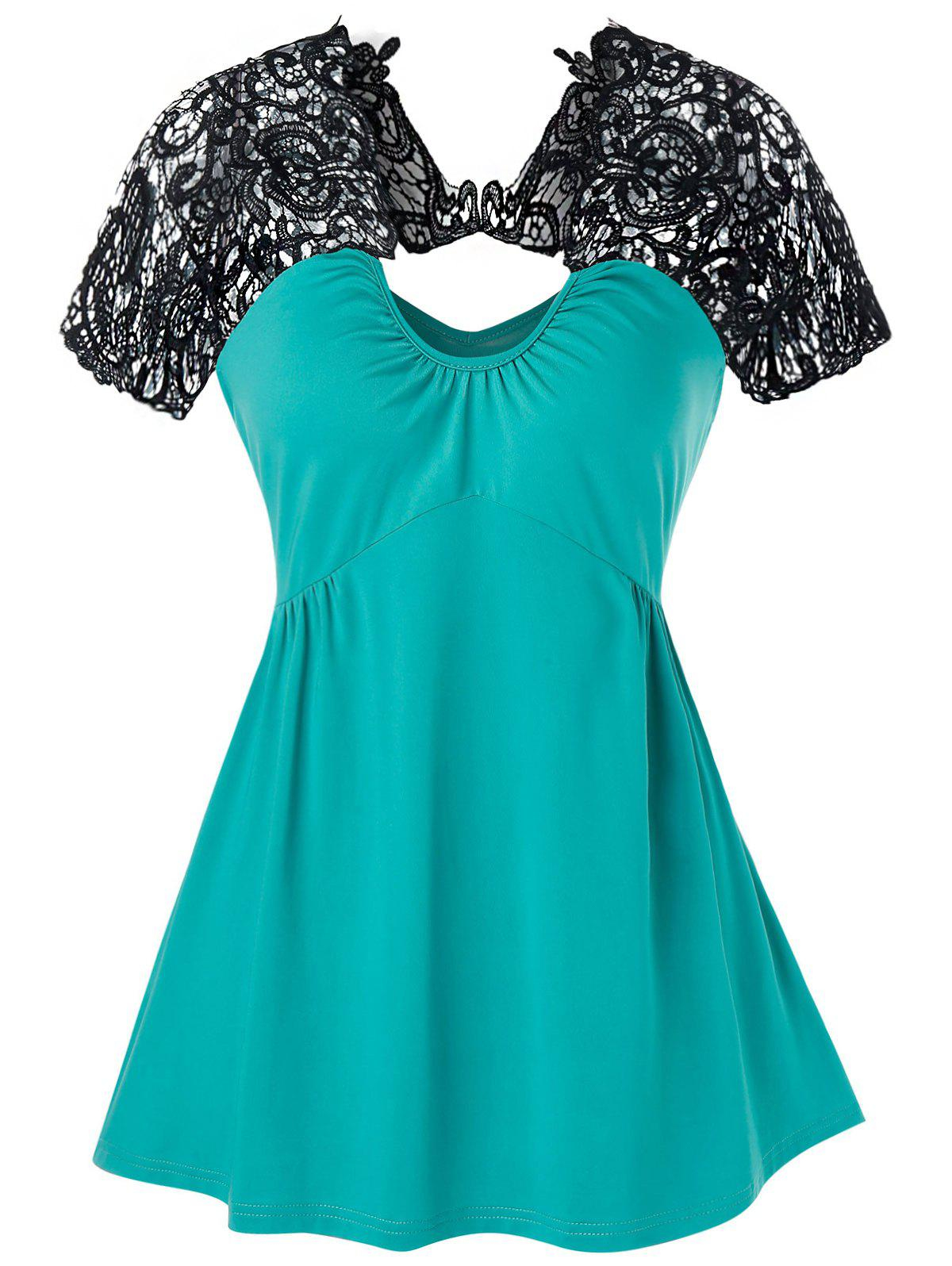 Lace Insert Flare Tank Top, Turquoise