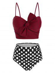 Polka Dot Tied Moulded High Waisted Bikini Swimwear -