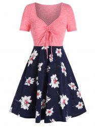 Flower Print Drawstring Fit And Flare Dress -