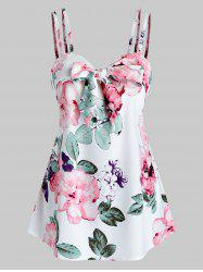 Flower Print Knot Front Strappy Tank Top -