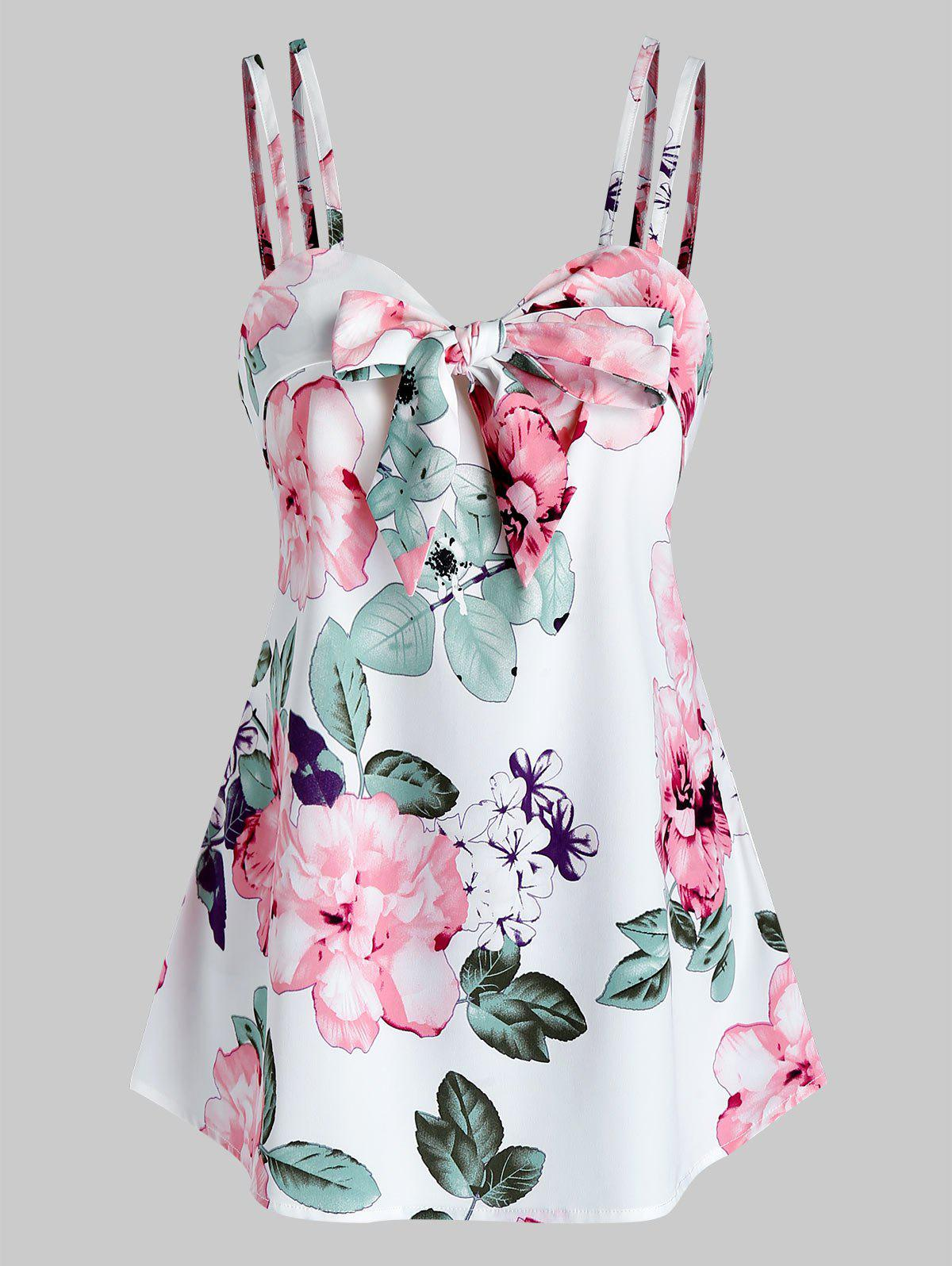 Trendy Flower Print Knot Front Strappy Tank Top