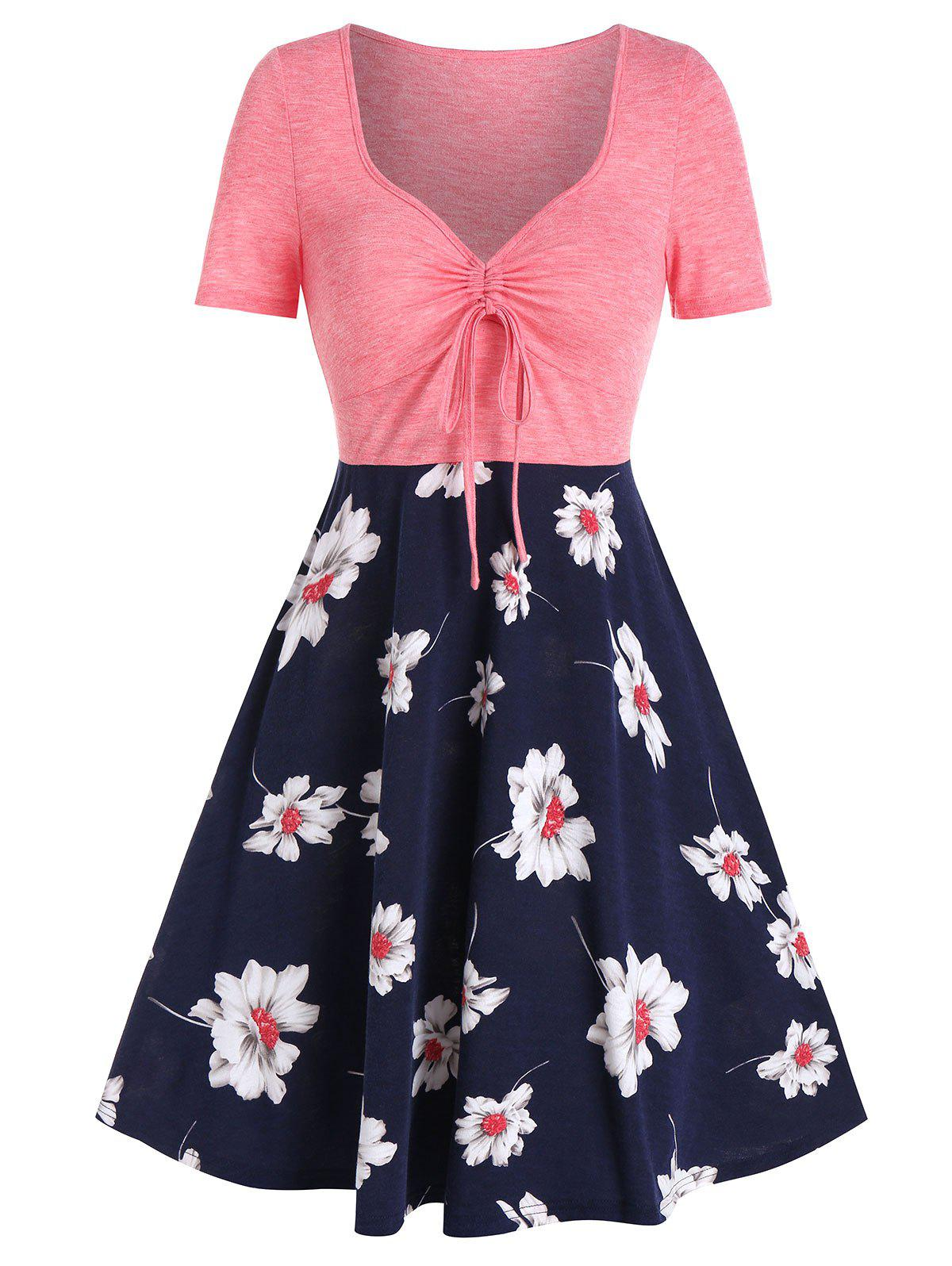 Shops Flower Print Drawstring Fit And Flare Dress