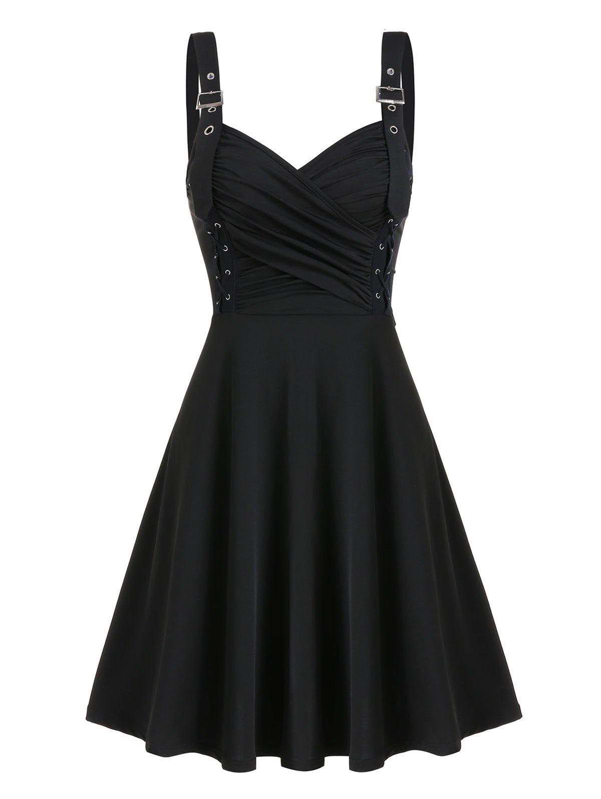 Fancy Buckle Strap Lace Up Fit And Flare Dress