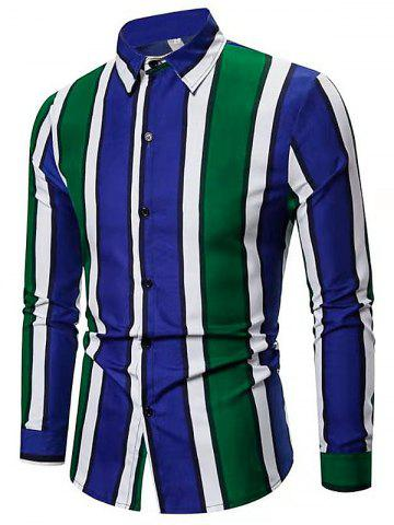 Color-blocking Striped Long Sleeve Casual Shirt