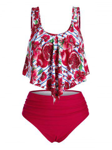 Plus Size Overlay Floral Pomegranate Print Ruched Tankini Swimwear