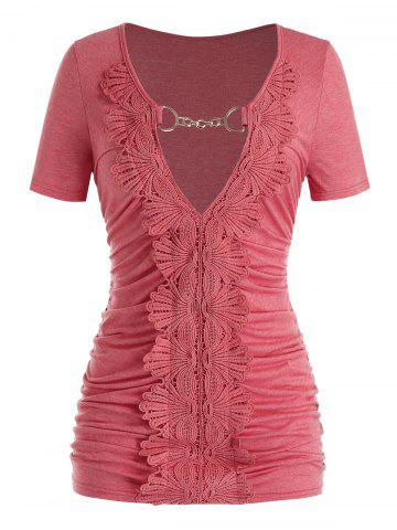 Plus Size Ruched Lace Guipure Keyhole T Shirt - VALENTINE RED - 2X