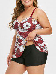 Contrast Floral Ruched Plus Size Tankini Swimsuit -