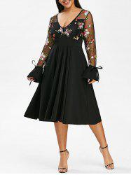 Tie Sleeve Mesh Panel Floral Embroidered Plus Size Dress -