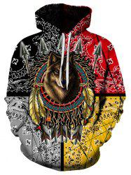 Indian Wolf Graphic Pouch Pocket Drawstring Hoodie -