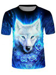 Wolf Floral Graphic Crew Neck Short Sleeve T Shirt -