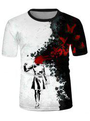 Ink Drawing Graphic Causal Short Sleeve T Shirt -