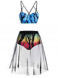 Ombre Tree Print Mesh Panel Cami Bikini Swimwear -