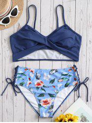 Plus Size Twist Lace-up Floral Bikini Set -