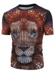 Casual Lion Pattern Short Sleeves T-shirt -
