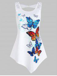 Butterflies Print Asymmetric Tank Top -