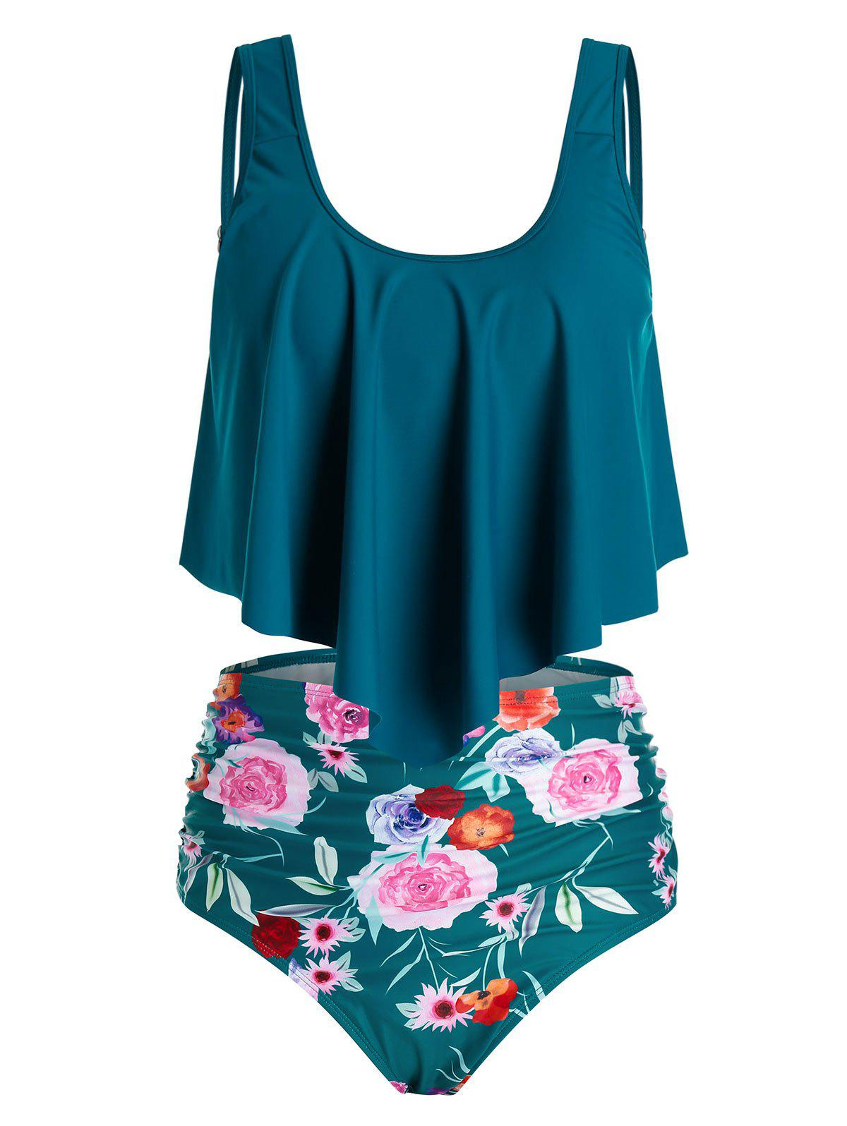 Trendy Plus Size Flower Flounce High Waisted Ruched Tankini Swimwear