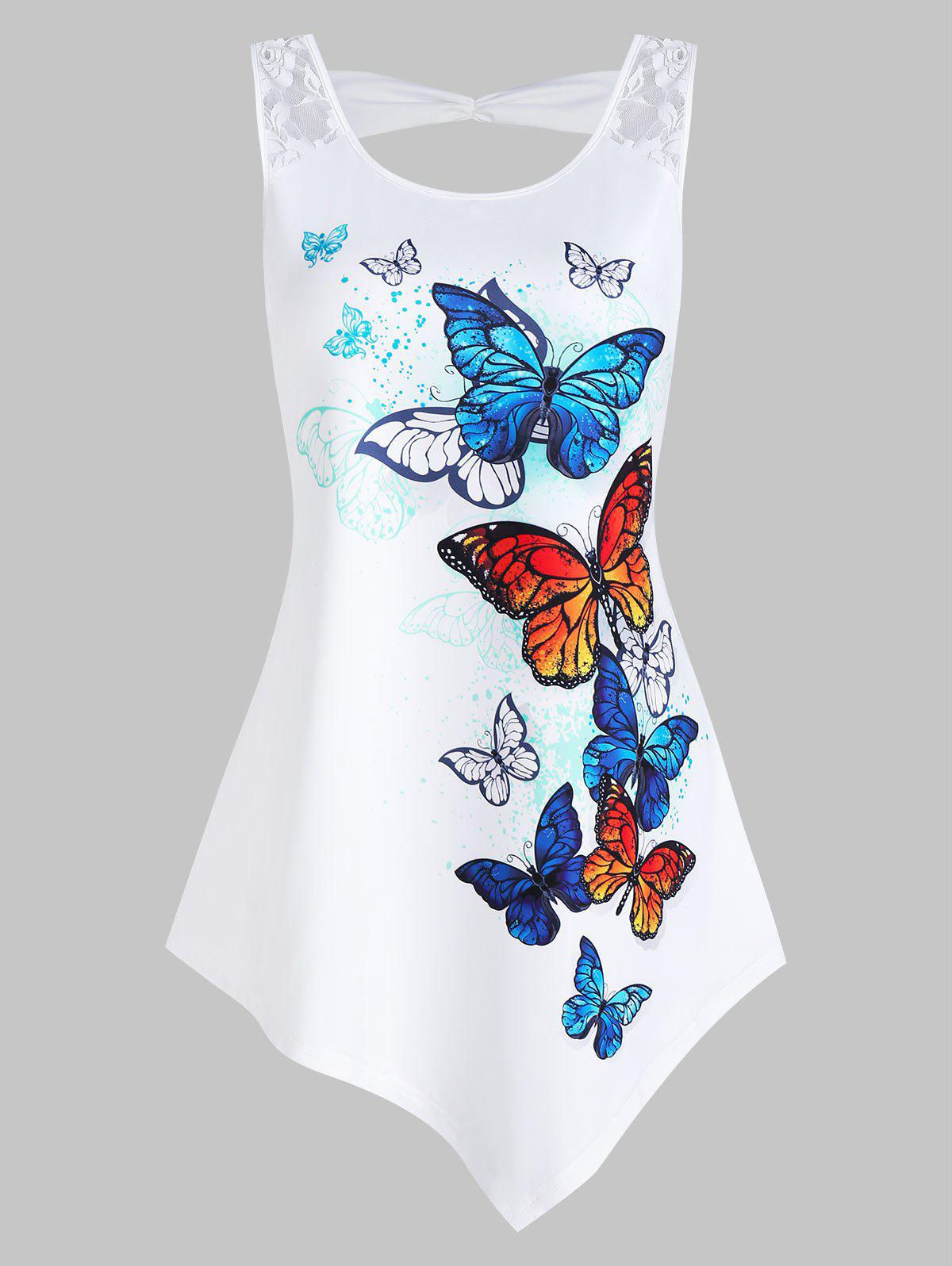 New Butterflies Print Asymmetric Tank Top