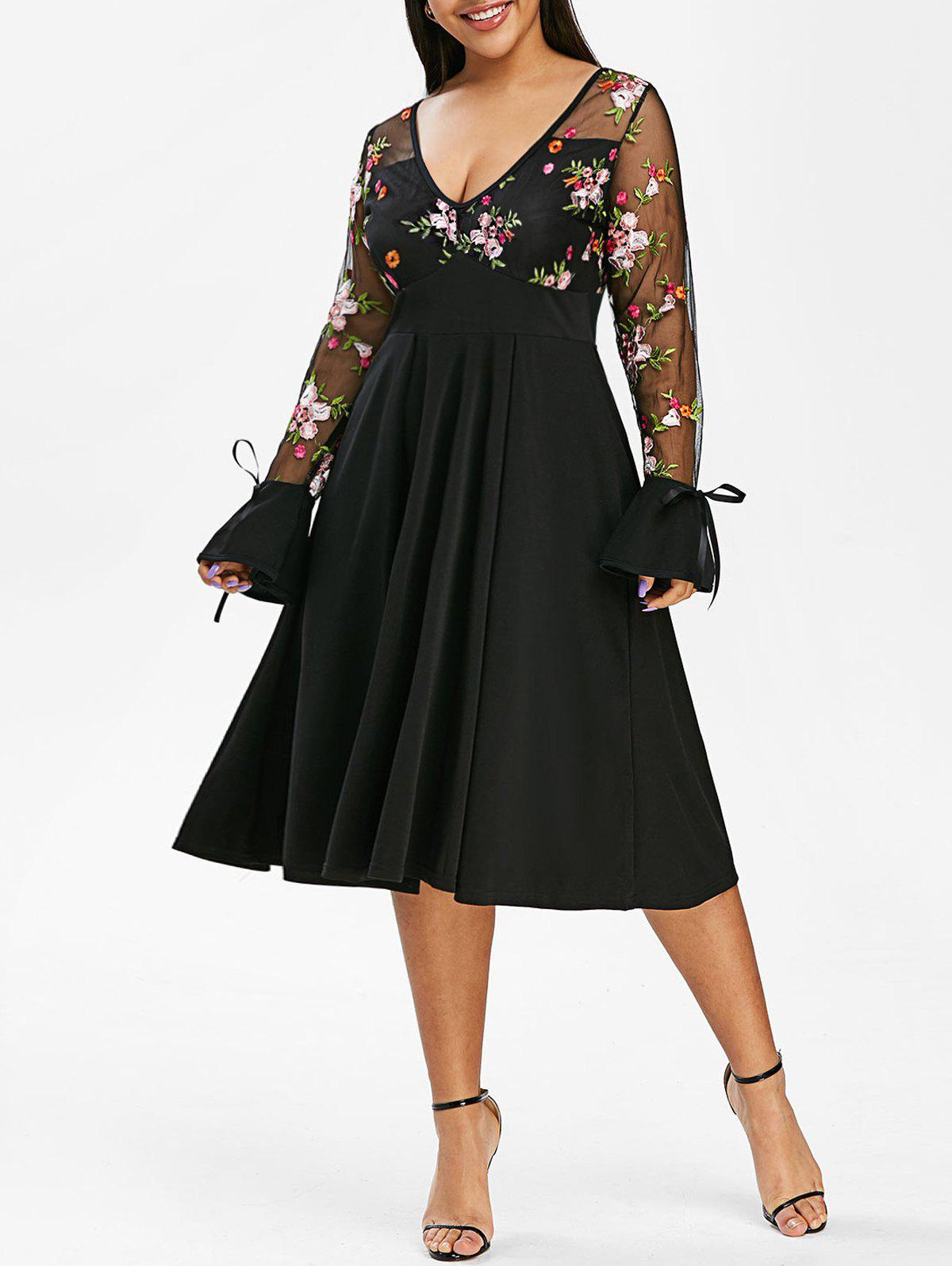 Tie Sleeve Mesh Panel Floral Embroidered Plus Size Dress