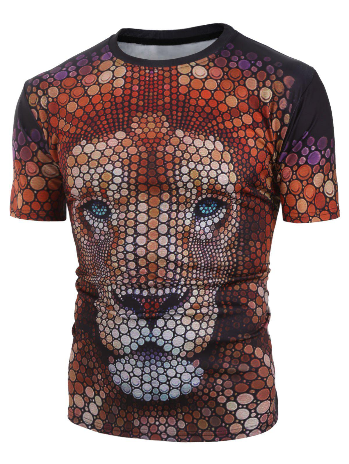 Sale Casual Lion Pattern Short Sleeves T-shirt