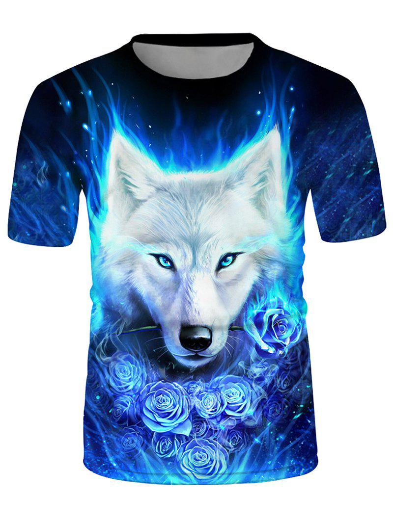 Store Wolf Floral Graphic Crew Neck Short Sleeve T Shirt