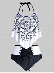 Plus Size Printed Halter Lace Up Tankini Swimwear -