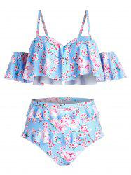 Plus Size Open Shoulder Ditsy Floral High Waisted Tankini Swimwear -