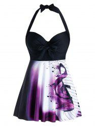 Plus Size Musical Notes Backless Halter Push Up Tankini Swimwear -