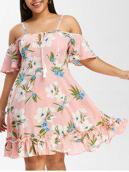 Plus Size Open Shoulder Floral Print Flounce Dress -
