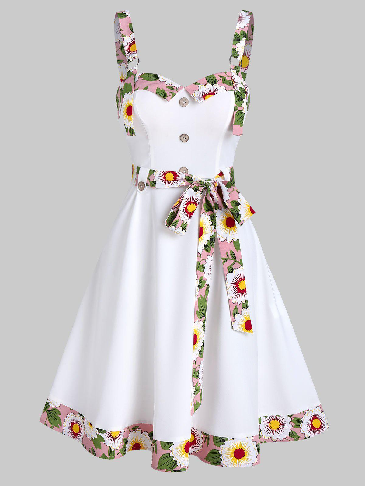 Trendy Sleeveless Floral Trim Mock Button Knotted Dress