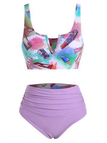 Fashion Accessories Makeup Print V-wired Ruched Reversible Tankini Set